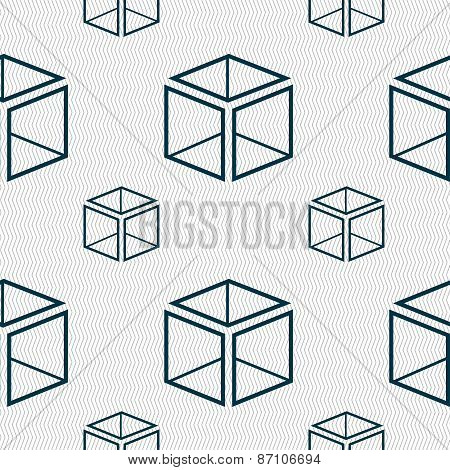 3D Cube Icon Sign. Seamless Pattern With Geometric Texture. Vector
