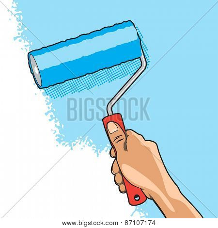 Hand Paints Wall with Blue Color Roller Brush