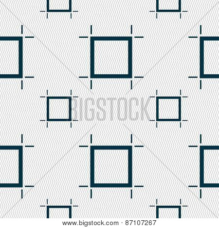Crops And Registration Marks Icon Sign. Seamless Pattern With Geometric Texture. Vector