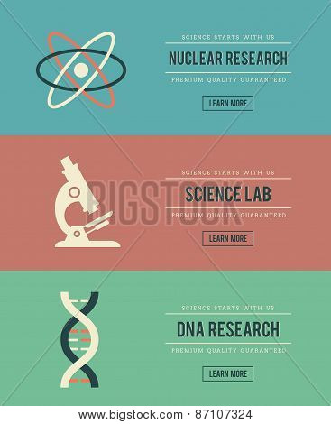Set Of Vintage Science Related Banners