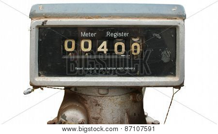 Old fuel pump with rust and dirt isolated with clipping path