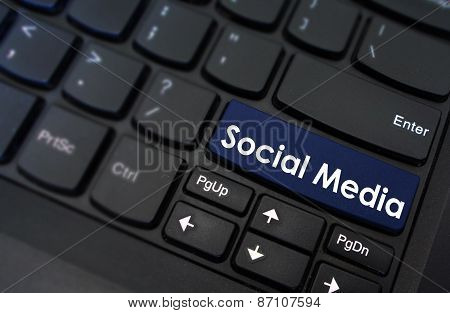 Social Media shown on a laptop keyboard button