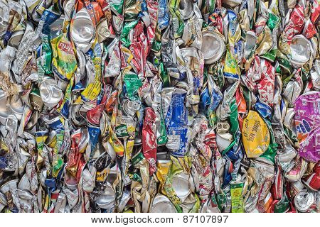 Phuket, Thailand - March 3 : Crushed Soda And Beer Cans At A Recycling Facility In Phuket On March 3