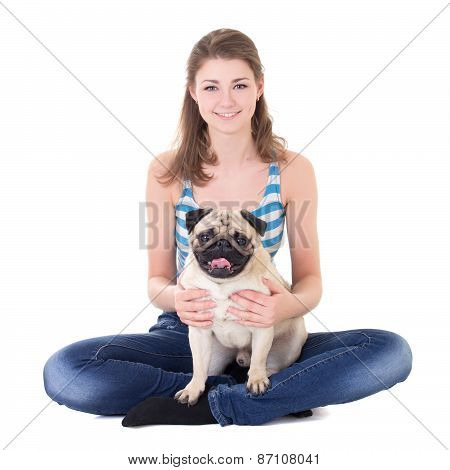 Young Beautiful Woman Sitting With Pug Dog Isolated On White