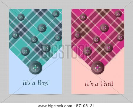Invitation baby pink and blue cards with bow, tartan, button.