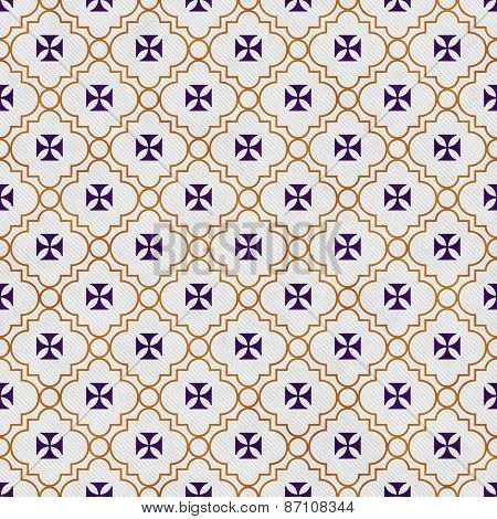 Purple And Gold Maltese Cross Symbol Tile Pattern Repeat Background