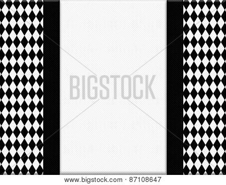 Black And White Diamond Frame With Ribbon Background