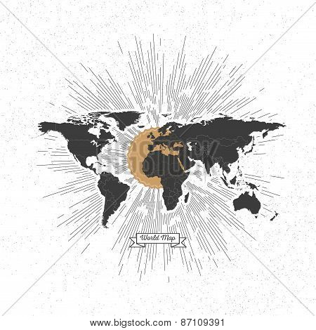 Black political world map with vintage style star burst, retro element for your design
