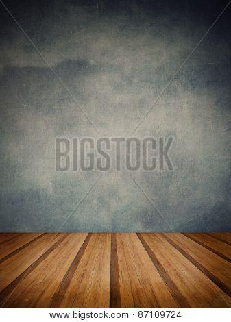 Retro Grunge Texture Background With Wooden Floor Platform Foreground