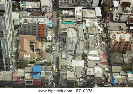 View Rooftops Of Simple Quarters In Bangkok