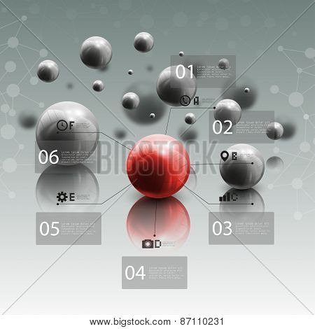 Spheres in motion on gray background. Red sphere with infographic elements for business or science r