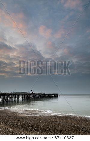 Sunrise Landscape Of Pier Under Construction And Development