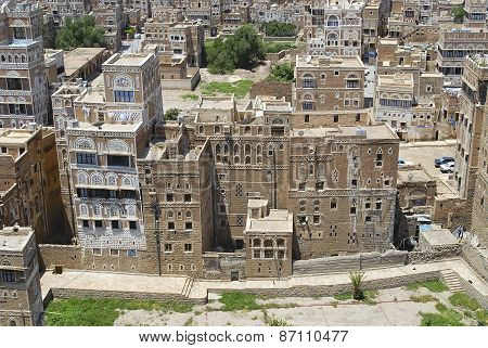 View of the historical buildings of the Sanaa city in Sanaa, Yemen.