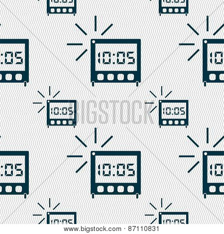 Digital Alarm Clock Icon Sign. Seamless Pattern With Geometric Texture. Vector