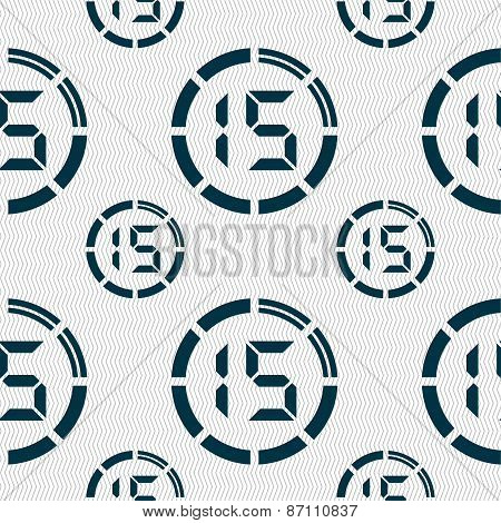 15 Second Stopwatch Icon Sign. Seamless Pattern With Geometric Texture. Vector