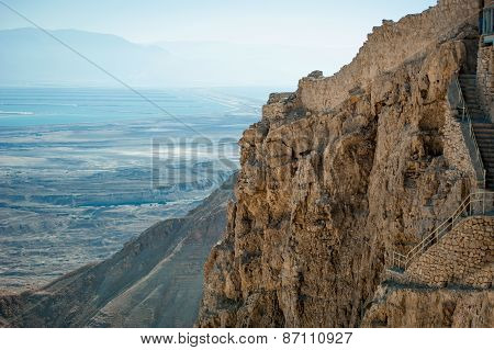 Detail Of A Mountain And View Of The Dead Sea