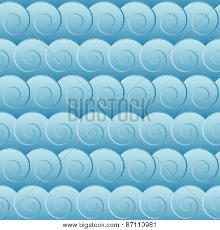 Seamless blue waves background pattern.
