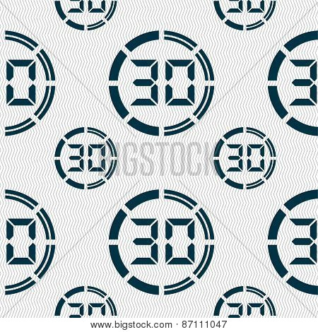 30 Second Stopwatch Icon Sign. Seamless Pattern With Geometric Texture. Vector