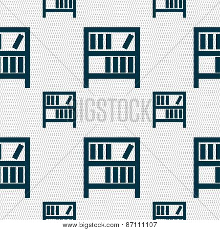Bookshelf Icon Sign. Seamless Pattern With Geometric Texture. Vector