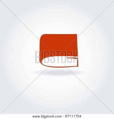 Book store or library logo sign. Open red book icon