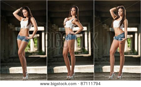 Portrait of a beautiful sexy woman with denim shorts and white cropped t-shirt in urban background
