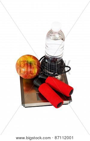 Skipping Rope, Apple, Water On The Scale