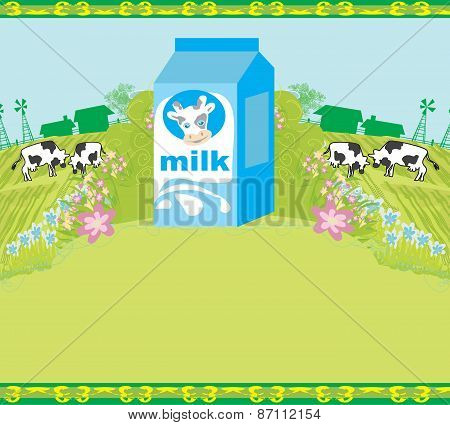 Abstract Poster With A Carton Of Milk And Cows Graze In The Meadow