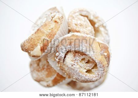 Delicious pastry with icing sugar