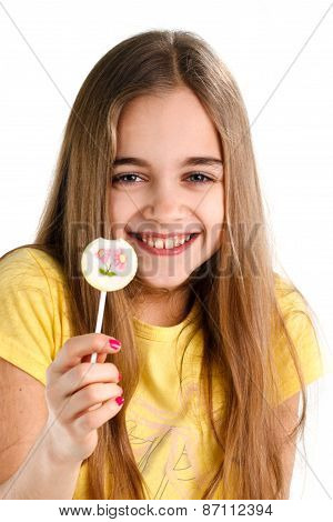 blonde girl with a lollipop