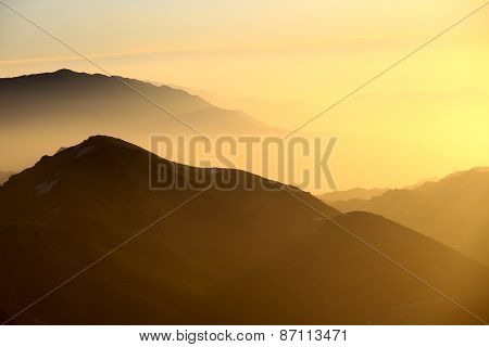 Sunrise View From Nemrut Mountain With Silhuettes