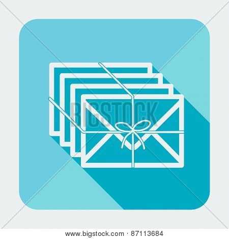 Single flat square mail icon with long shadow. Vector illustration.