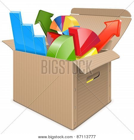 Vector Carton Box With Statistics