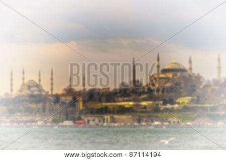 Blurred Background Blue  And Hagia Sophia