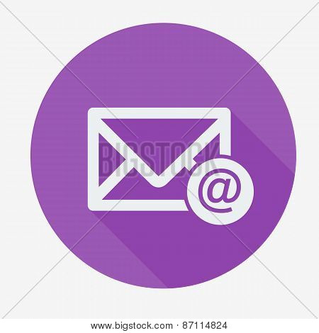 Mail icon, envelope with email sign. Flat design vector illustration.