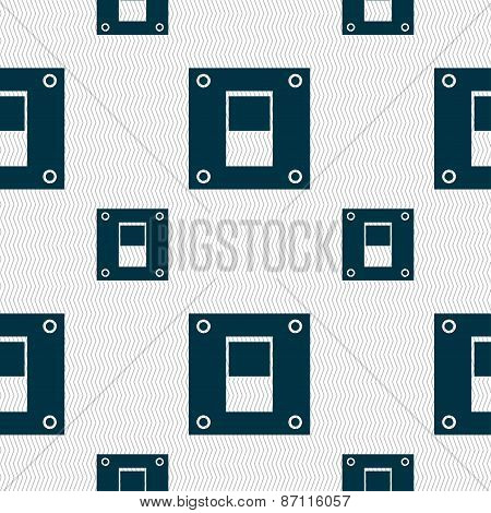 Power Switch Icon Sign. Seamless Pattern With Geometric Texture. Vector