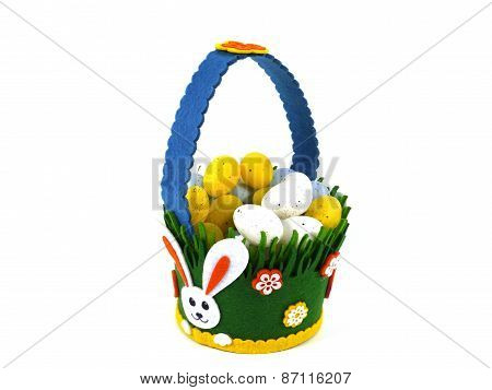 Isolated basket with artificial eggs