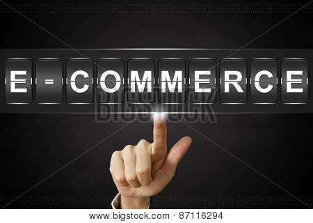 Business Hand Clicking E-commerce On Flipboard