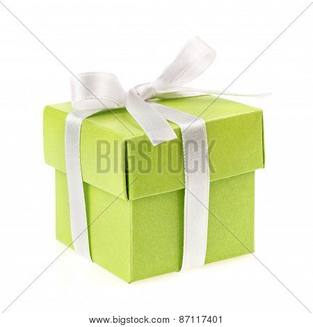 green gift box top view
