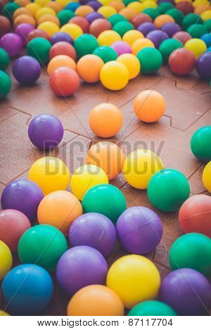 Colorful Plastic Ball In Playground