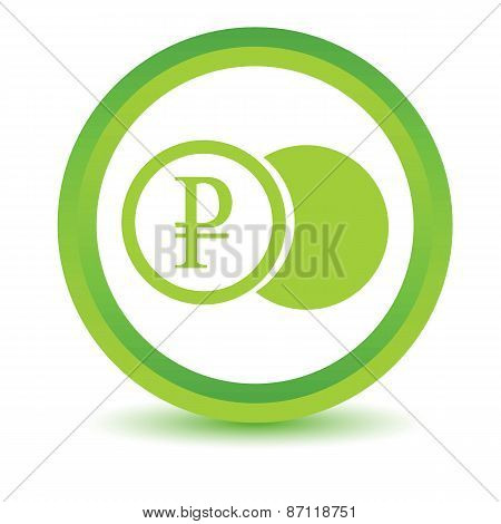 Green rouble coin icon