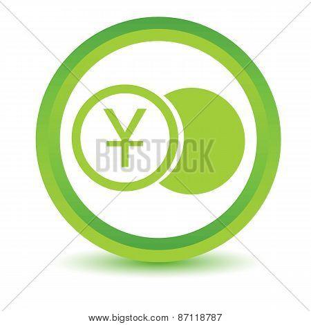 Green yen coin icon