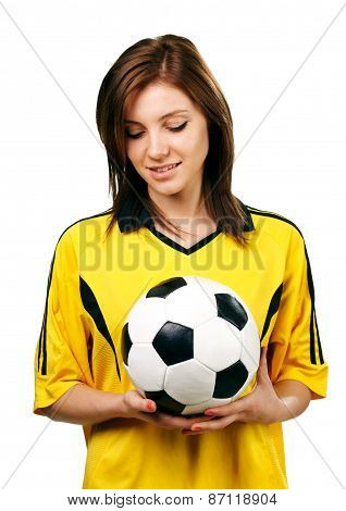 pretty girl with soccer ball