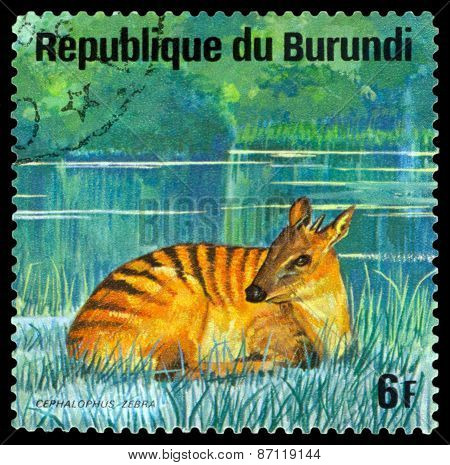 Vintage  Postage Stamp. Zebra Antelope. Animals Burundi.