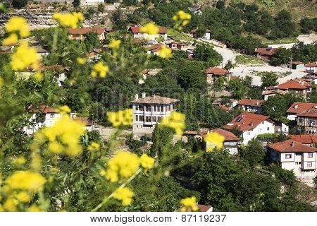 Old Ottoman Houses behind yellow flowers spring time In Safranbolu, Karabuk, Turkey