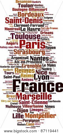 Cities In France Word Cloud