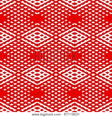 Tile red and white vector pattern or nordic background