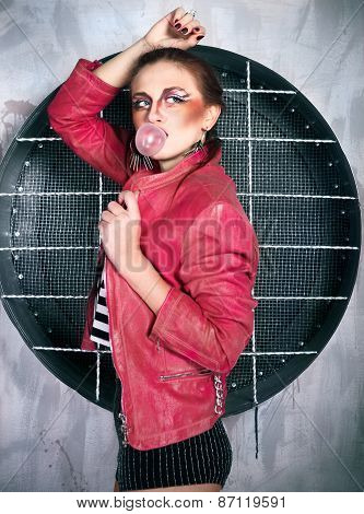 Punk Girl In Pink Leather Jacket