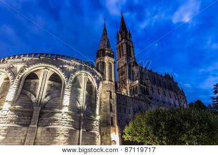 The Basilica Of Our Lady Of The Immaculate Conception At Blue Hour