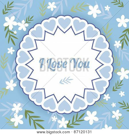 Blue Greeting Card With White Flowers