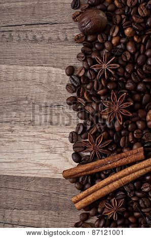 spices on the old wooden background